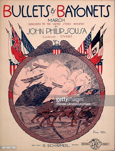 Sheet music cover image of 'Bullets Bayonets March' by John Philip Sousa with lithographic or engraving notes reading 'Malcolm Strauss' New York New...