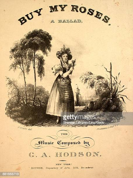 Sheet music cover image of 'Buy My Roses A Ballad' by G A Hodson with lithographic or engraving notes reading 'F Grain del Pendleton's Lithographogy...