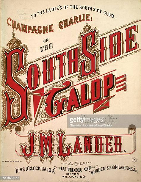 Sheet music cover image of 'Champagne Charlie or The South Side Galop' by J M Lander with lithographic or engraving notes reading 'Lithograph Bufford...
