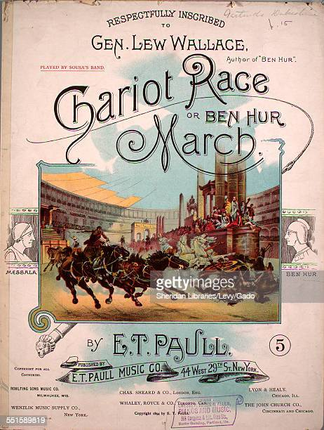 Sheet music cover image of 'Chariot Race or Ben Hur March' by E T Paull with lithographic or engraving notes reading 'Lithograph by A Hoen Co...