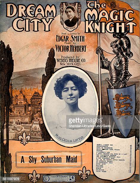 Sheet music cover image of 'Dream City The Magic Knight A Shy Suburban Maid' by Edgar Smith and Victor Herbert with lithographic or engraving notes...