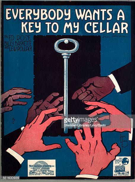 Sheet music cover image of 'Everybody Wants a Key to My Cellar' by Ed Rose and Lew Pollack with lithographic or engraving notes reading 'De Takals'...