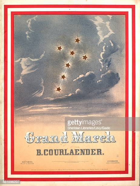 Sheet music cover image of 'Grand March' by B Courlaender with lithographic or engraving notes reading 'Lithograph A Hoen Co Baltimore Eng'd at...