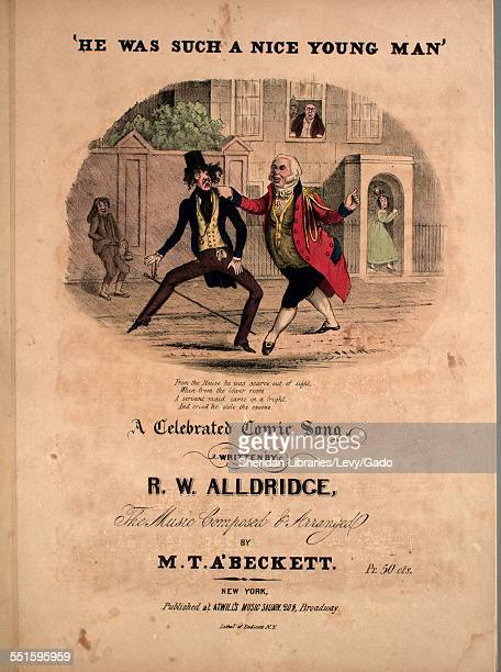 Sheet music cover image of 'He Was Such a Nice Young Man' A Celebrated Comic Song' by R W Alldridge and M T A'Beckett with lithographic or engraving...