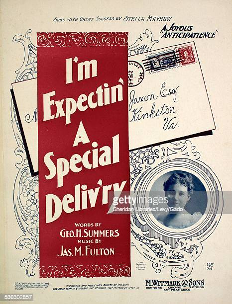 Sheet music cover image of 'I'm Expectin' A Special Delivery' by Geo H Summers and Jas M Fulton with lithographic or engraving notes reading...