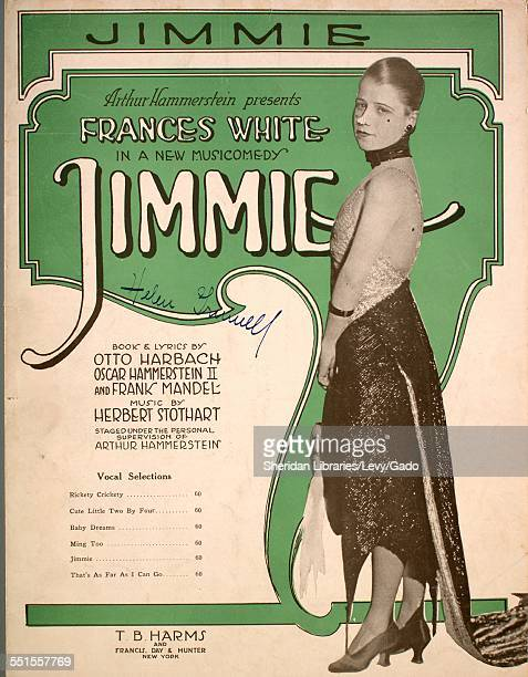 Sheet music cover image of 'Jimmie' by Otto Harbach Oscar Hammerstein II and Herbert Stothart with lithographic or engraving notes reading 'unattrib...