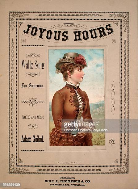 Sheet music cover image of 'Joyous Hours Waltz Song' by Adam Geibel Chicago Illinois 1882