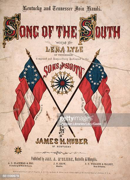 Sheet music cover image of 'Kentucky and Tennessee Join Hands The Song of the South' by Lena Lyle and James H Huber Nashville Tennesse 1861