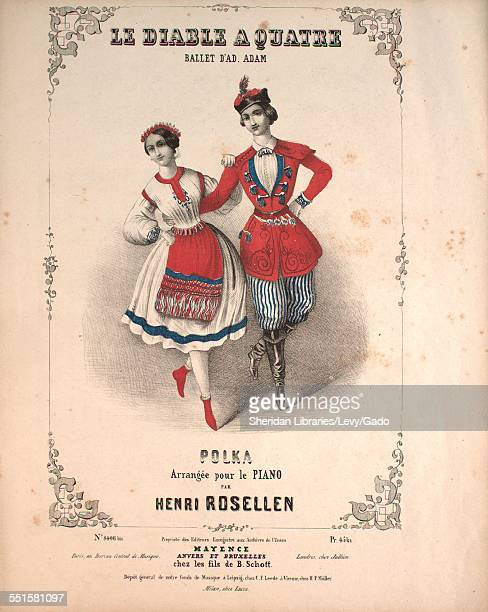 Sheet music cover image of 'Le Diable a Quatre Ballet D'Ad Adam Polka' by Henri Rosellen with lithographic or engraving notes reading 'Milan chez...