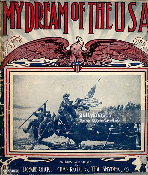 Sheet music cover image of 'My Dream of the USA' by Leonard Chick Chas Roth and Ted Snyder with lithographic or engraving notes reading 'Teller Sons...