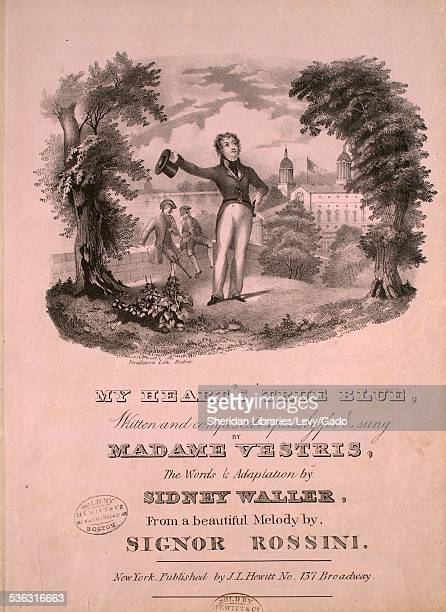 Sheet music cover image of 'My Heart's True Blue' by Sidney Waller and Signor Rossini with lithographic or engraving notes reading 'Pendleton's...