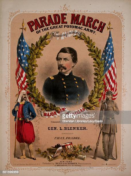 Sheet music cover image of 'Parade March of the Great Potomac Army' by Chas Fradel with lithographic or engraving notes reading 'Lithograph of...