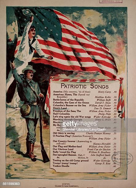 Sheet music cover image of 'Patriotic Songs Dixie's Land' by Dan D Emmett Boston Massachusetts 1888