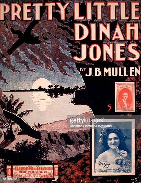 Sheet music cover image of 'Pretty Little Dinah Jones' by J B Mullen with lithographic or engraving notes reading 'unattrib photo of Harry Von Tilzer...