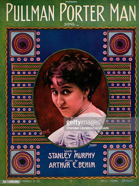 Sheet music cover image of 'Pullman Porter Man Song' by Stanley Murphy and Arthur E Behim, with lithographic or engraving notes reading 'unidentified...