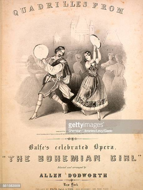 Sheet music cover image of 'Quadrilles From Balfe's Celebrated Opera The Bohemian Girl Arline Thaddeus Devilshoff Arnheim The Gipsey Queen' by Allen...