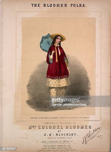 Sheet music cover image of 'The bloomer polka' by J J Blockley with lithographic or engraving notes reading 'Stannard Dixon 7 Poland St Portrait of...