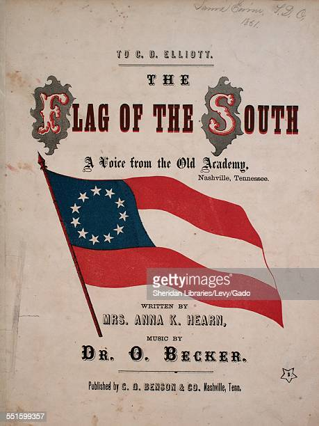 Sheet music cover image of 'The Flag of the South A Voice From the Old Academy' by Mrs Anna K Hearn and Dr O Becker with lithographic or engraving...