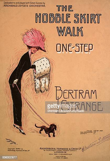 Sheet music cover image of 'The Hobble Skirt Walk OneStep' by Bertram Lestrange with lithographic or engraving notes reading 'W George CG Roder Ltd'...