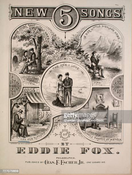 Sheet music cover image of the song '5 New Songs The Old Kitchen Door' with original authorship notes reading 'By Eddie Fox' United States 1881 The...