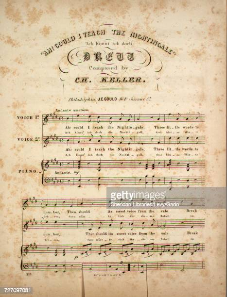 Sheet music cover image of the song 'Ah Could I Teach the Nightingale Ach Konnt ich doch' with original authorship notes reading 'Composed by Ch...