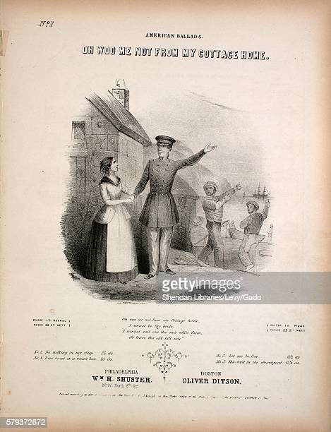 Sheet music cover image of the song 'American Ballads Oh Woo Me Not From My Cottage Home' with original authorship notes reading 'Words by Amanda M...