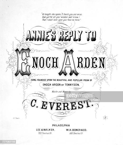 Sheet music cover image of the song 'Annie's Reply to Enoch Arden Song Founded Upon the Beautiful and Popular poem of Enoch Arden by Tennyson' with...