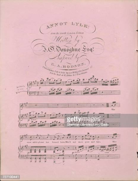 Sheet music cover image of the song 'Annot Lyle From the fourth London Editioin' with original authorship notes reading 'Written by JC Donoghue Esqr...