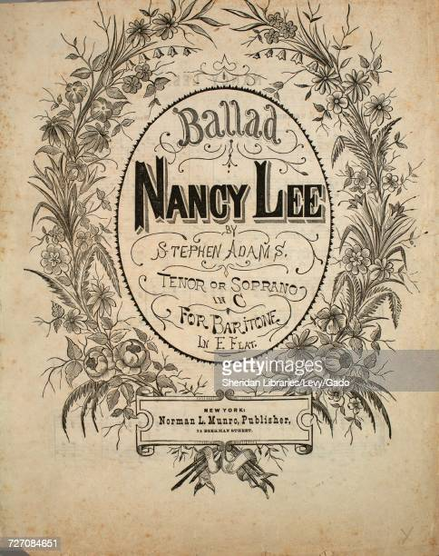 Sheet music cover image of the song 'Ballad Nancy Lee' with original authorship notes reading 'By Stephen Adams' United States 1900 The publisher is...