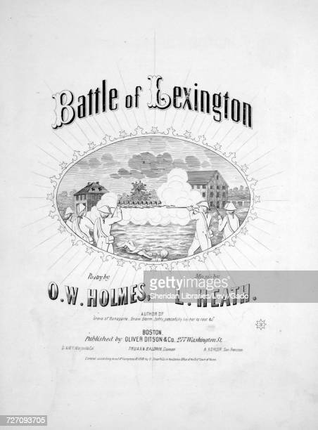 Sheet music cover image of the song 'Battle of Lexington', with original authorship notes reading 'Poetry by OW Holmes Music by L Heath', United...