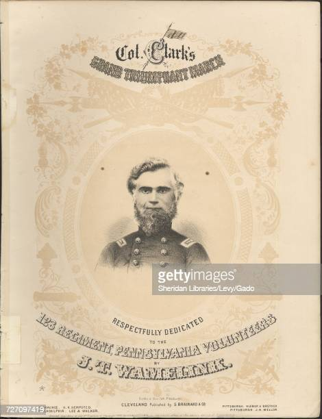 Sheet music cover image of the song 'Col Clark's Grand Triumphant March' with original authorship notes reading 'By JT Wamelink' United States 1862...