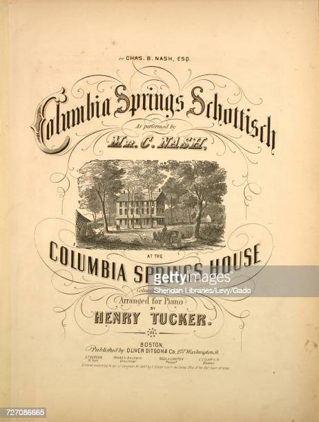 Sheet music cover image of the song 'Columbia Springs Schottisch' with original authorship notes reading 'Arranged for Piano by Henry Tucker' United...
