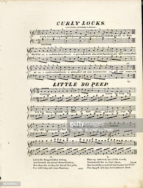 Sheet music cover image of the song ' Curley Locks Little Bo Peep' with original authorship notes reading 'na' United States 1900