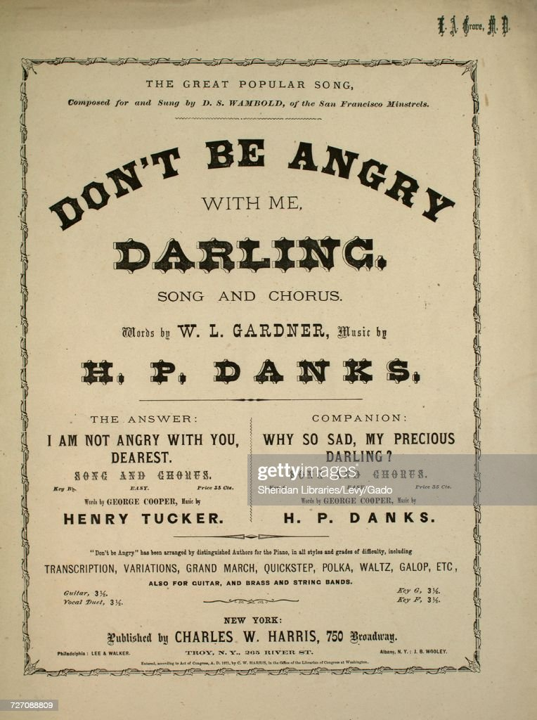 Sheet Music Cover Image Of The Song Dont Be Angry With Me Darling