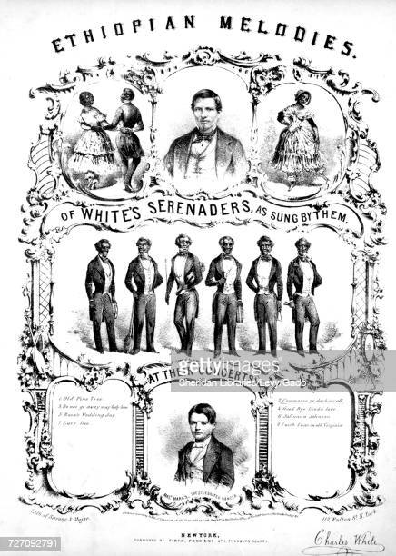 Sheet music cover image of the song 'Ethiopian melodies of White's Serenaders Commence Ye Darkies All' with original authorship notes reading...