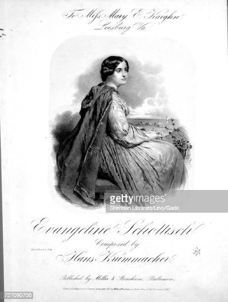 Sheet music cover image of the song 'Evangeline Schottisch' with original authorship notes reading 'Composed by Hans Krummacher' United States 1858...