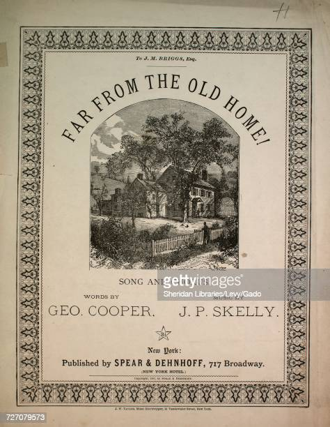 Sheet music cover image of the song 'Far From the Old Home Song and Chorus' with original authorship notes reading 'Words by Geo Cooper Music by JP...