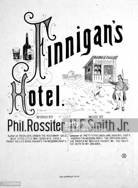 Sheet music cover image of the song 'Finnigan's Hotel' with original authorship notes reading 'Words By Phil Rossiter Music By HF Smith Jr' 1885 The...