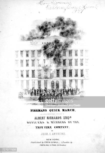 Sheet music cover image of the song 'Firemans Quick March' with original authorship notes reading 'Composed By John C Andrews' United States 1900 The...
