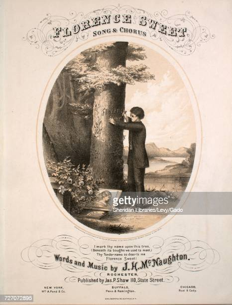 Sheet music cover image of the song 'Florence Sweet Song and Chorus' with original authorship notes reading 'Words and Music by JH McNaughton' 1867...
