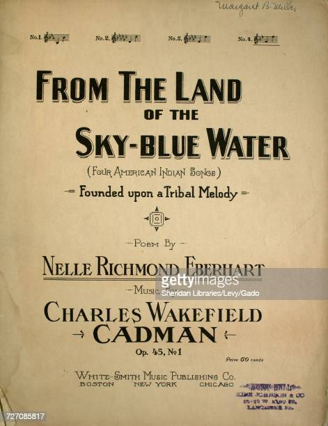 Sheet music cover image of the song 'From the Land of the SkyBlue Water Founded upon a Tribal Melody' with original authorship notes reading 'Poem by...