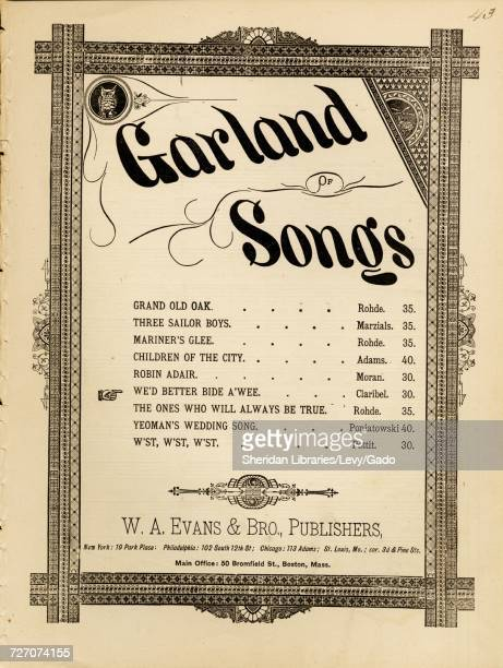 Sheet music cover image of the song 'Garland of Songs We'd Better Bide a Wee' with original authorship notes reading 'Words and Music by Claribel'...