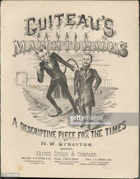 Sheet music cover image of the song 'Guiteau's March To Hades A Descriptive Piece For The Times' with original authorship notes reading 'by HW...