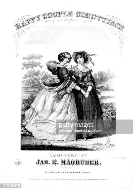 Sheet music cover image of the song 'Happy Couple Schottisch' with original authorship notes reading 'Composed By Jas E Magruder' United States 1860...