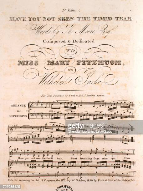 Sheet music cover image of the song 'Have You Not Seen the Timid Tear 3d Edition' with original authorship notes reading 'Words by Th Moore Esqr...