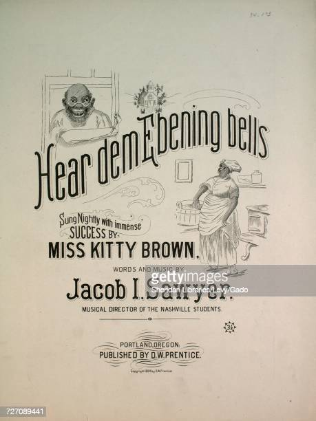 Sheet music cover image of the song 'Hear Dem Ebening Bells' with original authorship notes reading 'Words and Music by Jacob I Sawyer Musical...