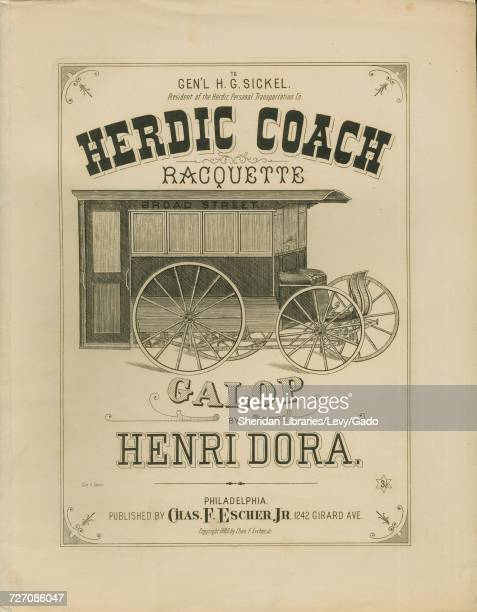 Sheet music cover image of the song 'Herdic Coach Racquette Galop' with original authorship notes reading 'By Henri Dora' United States 1880 The...