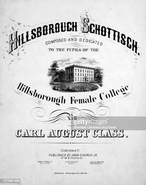 Sheet music cover image of the song 'Hillsborough Schottisch' with original authorship notes reading 'Composed By Carl August Class' United States...