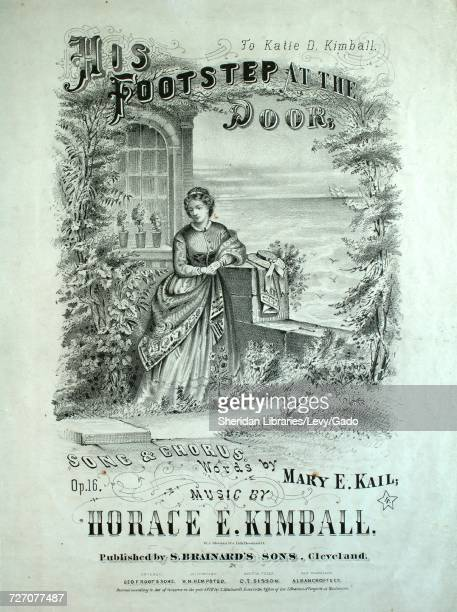 Sheet music cover image of the song 'His Footstep at the Door Song and Chorus' with original authorship notes reading 'Words by Mary E Kail Music by...