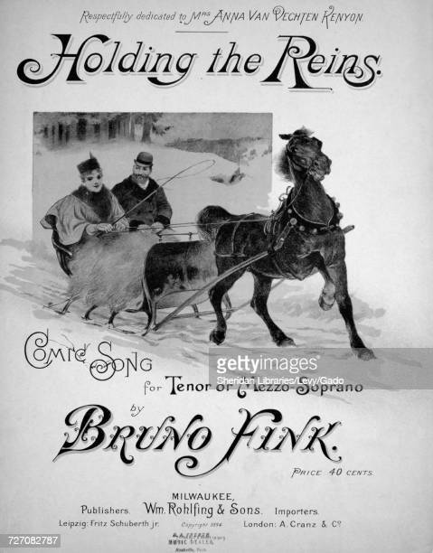 Sheet music cover image of the song 'Holding the Reins Comic Song for Tenor or Mezzo-Soprano', with original authorship notes reading 'By Bruno...